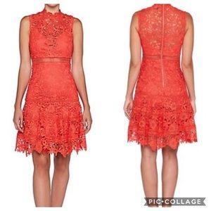 Bardot Revolve Elise A-line Lace Dress Poppy Red